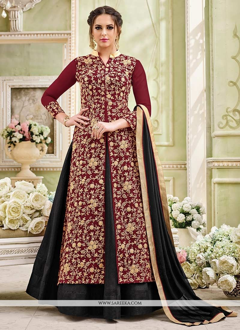 Faux Georgette Black and Maroon Long Choli Lehenga