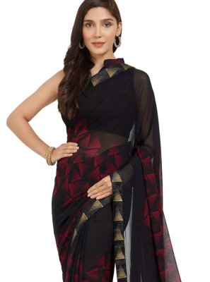 Faux Georgette Black and Red Casual Saree