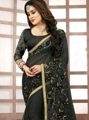 Faux Georgette Black Classic Saree