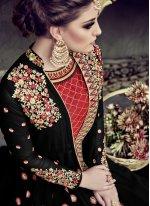 Faux Georgette Black Embroidered Work Floor Length Anarkali Suit