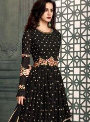 Faux Georgette Black Floor Length Anarkali Suit
