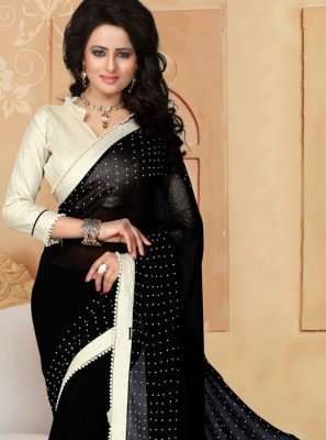 Faux Georgette Black Moti Work Saree