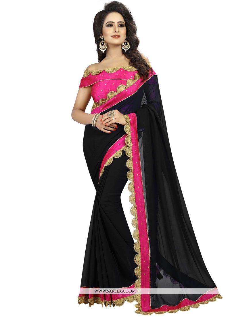 Faux Georgette Black Patch Border Work Classic Designer Saree