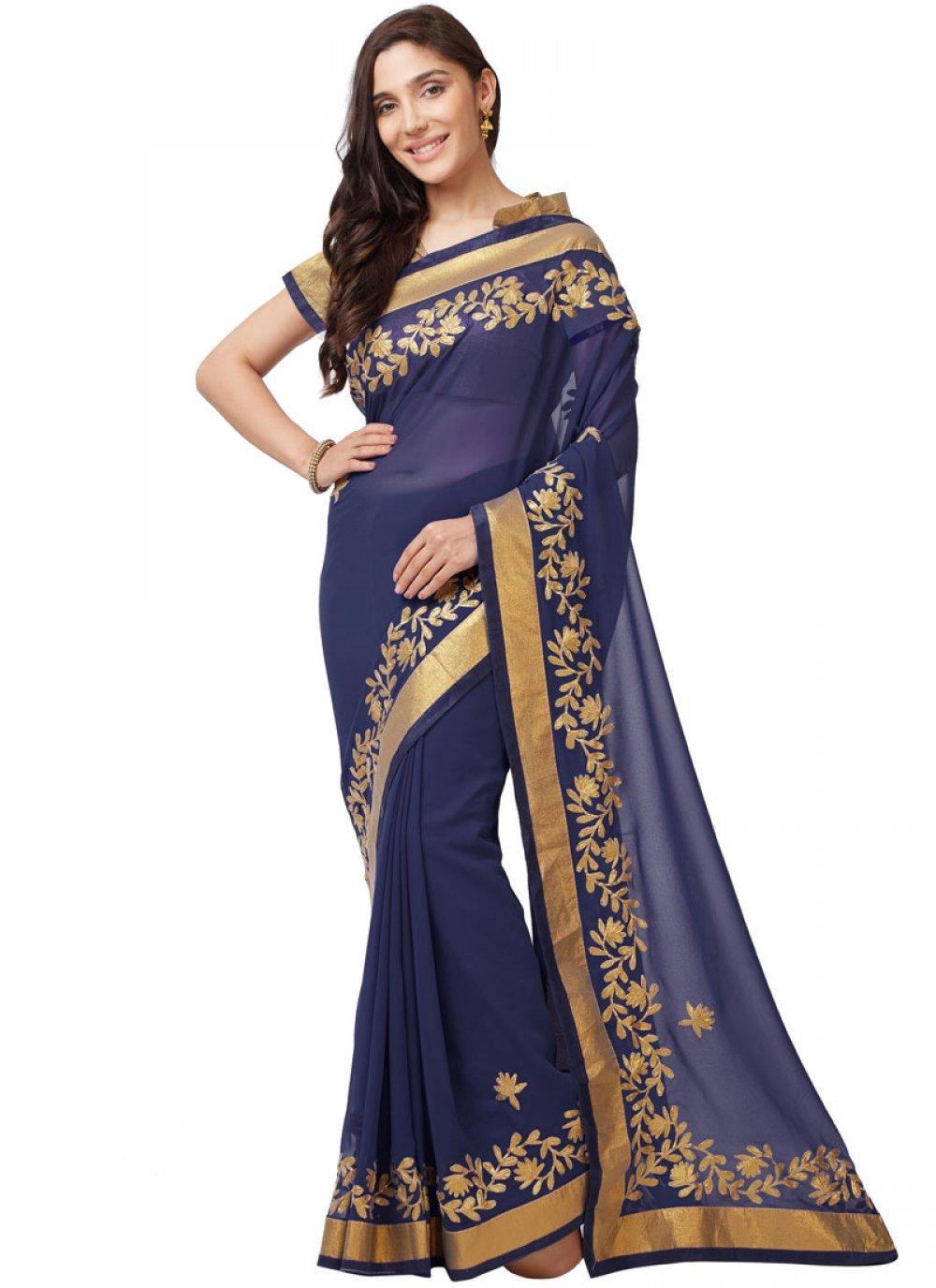 Faux Georgette Blue Aari Classic Saree