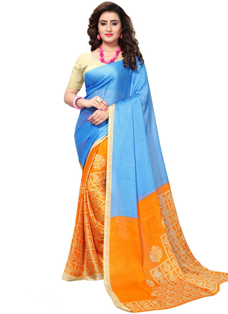 Faux Georgette Blue and Orange Print Work Casual Saree