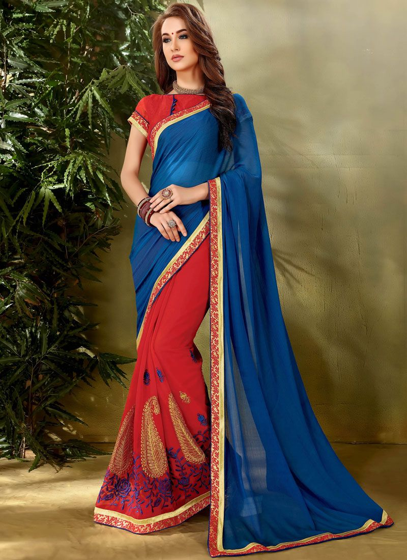Faux Georgette Blue and Red Half N Half  Saree