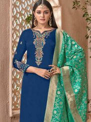 Faux Georgette Blue and Sea Green Designer Palazzo Suit