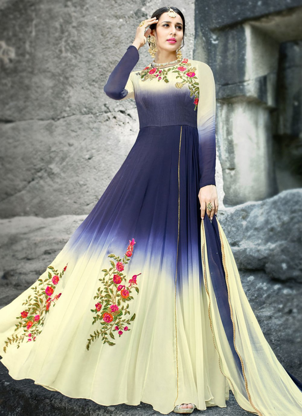 Faux Georgette Blue and White Floor Length Anarkali Suit