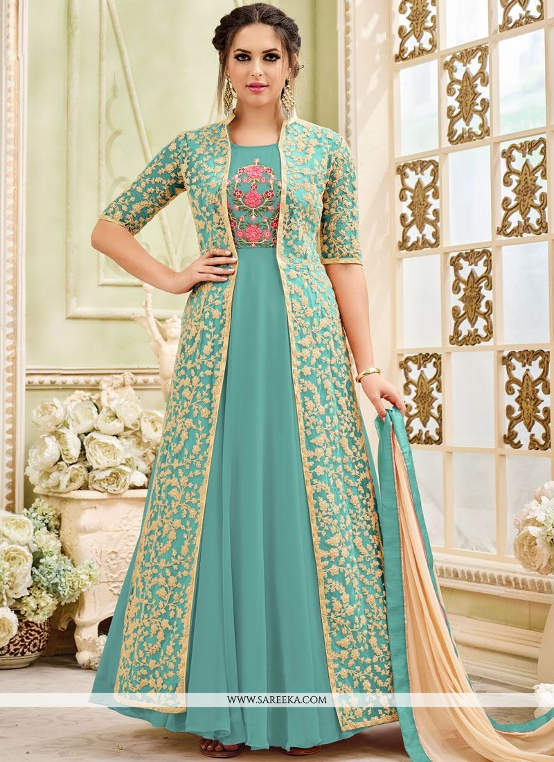 Faux Georgette Blue Embroidered Work Anarkali Salwar Kameez