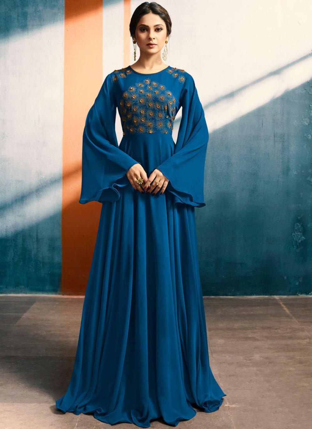 Faux Georgette Blue Handwork Work Party Wear Kurti