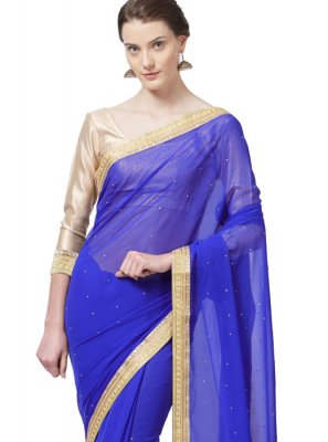 Faux Georgette Blue Lace Work Casual Saree