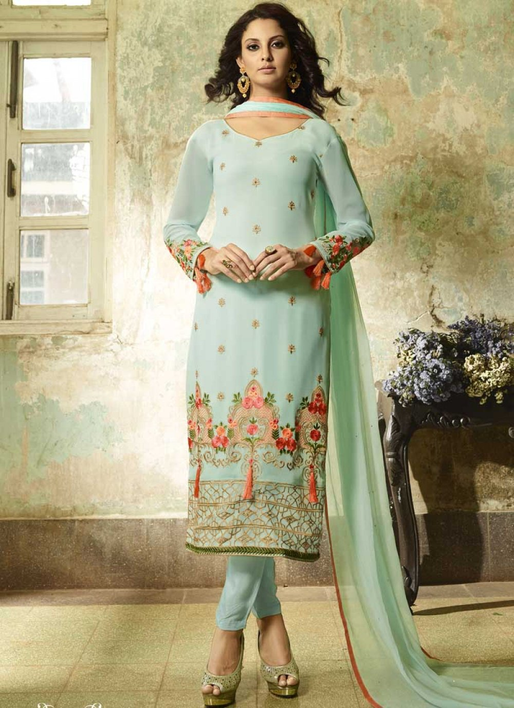 Faux Georgette Blue Resham Churidar Designer Suit