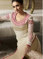 Faux Georgette Cream Embroidered Pant Style Suit