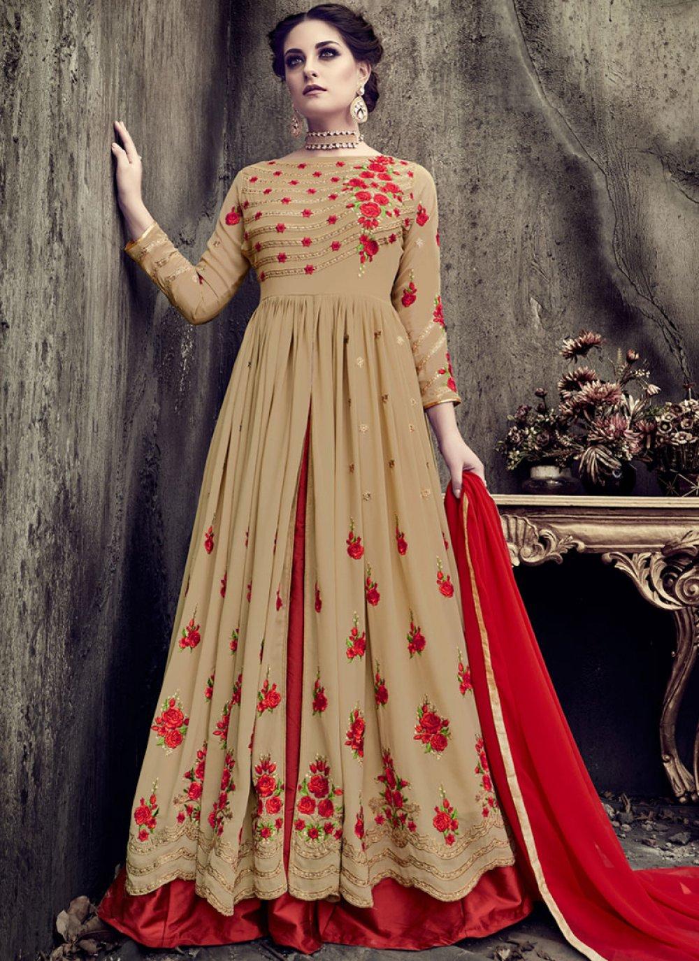 Faux Georgette Cream Resham Work Floor Length Anarkali Suit