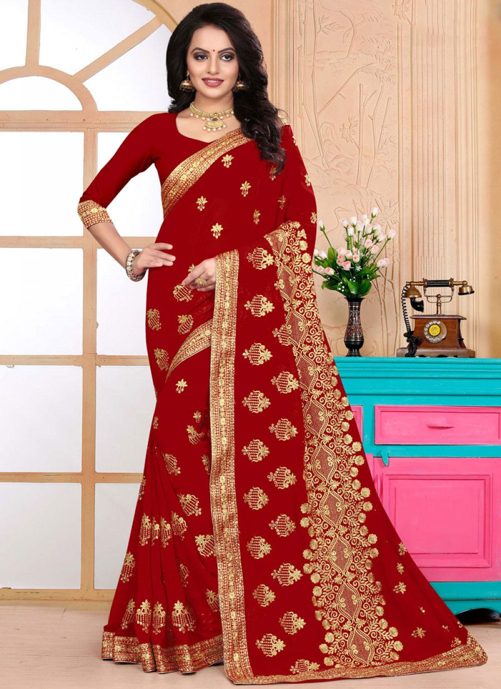 Faux Georgette Designer Saree in Red
