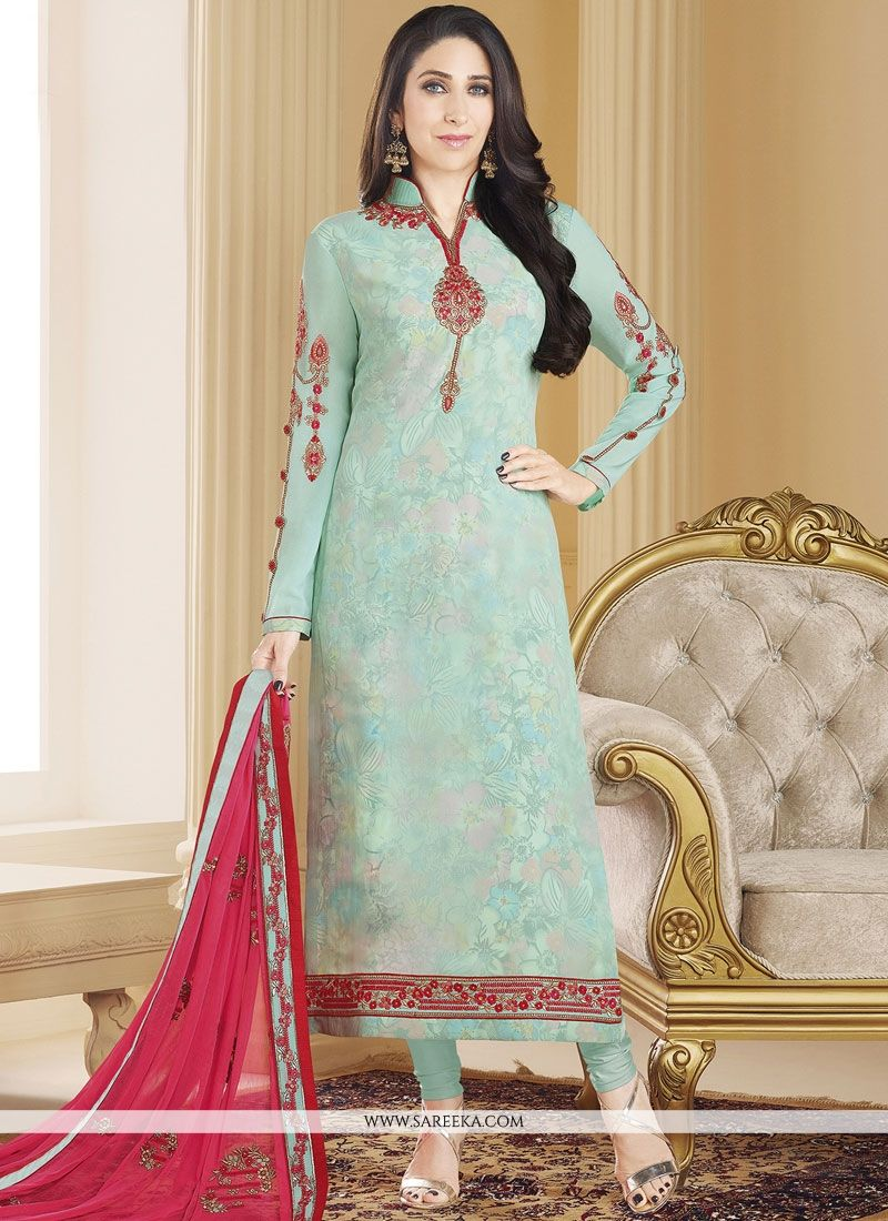 Faux Georgette Designer Straight Suit
