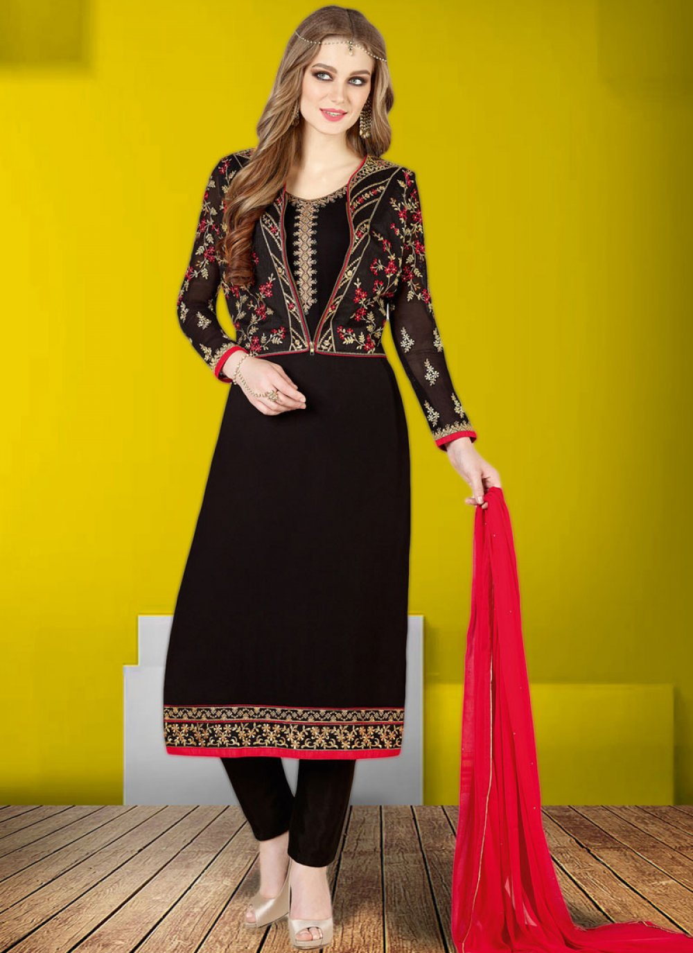 Faux Georgette Embroidered Black Churidar Designer Suit