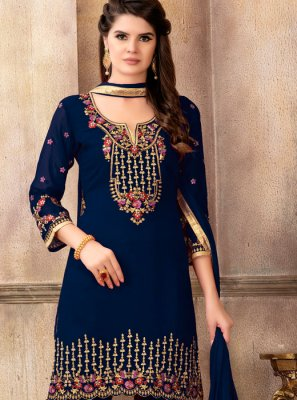 Faux Georgette Embroidered Designer Pakistani Suit in Blue