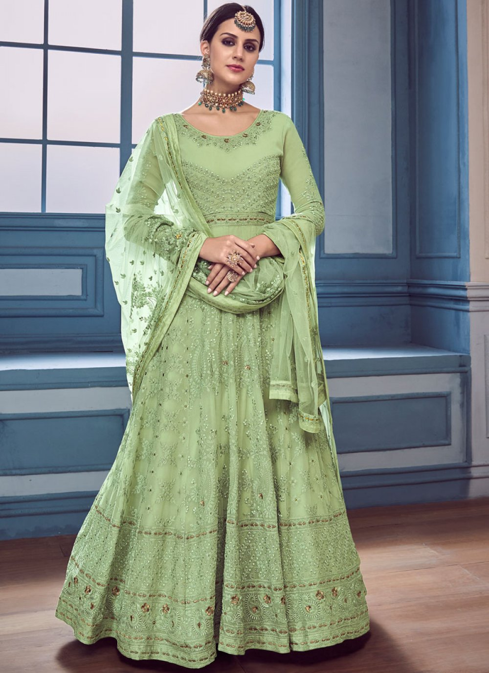 Faux Georgette Embroidered Green Anarkali Suit