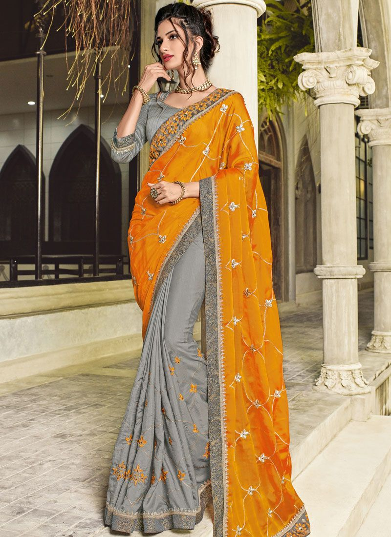 Faux Georgette Embroidered Grey and Orange Designer Half N Half Saree