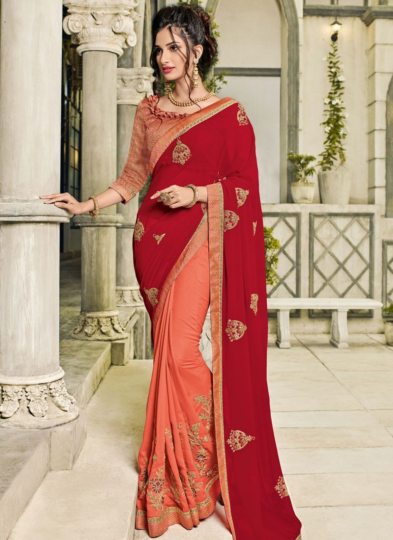 Faux Georgette Embroidered Peach and Red Half N Half  Saree