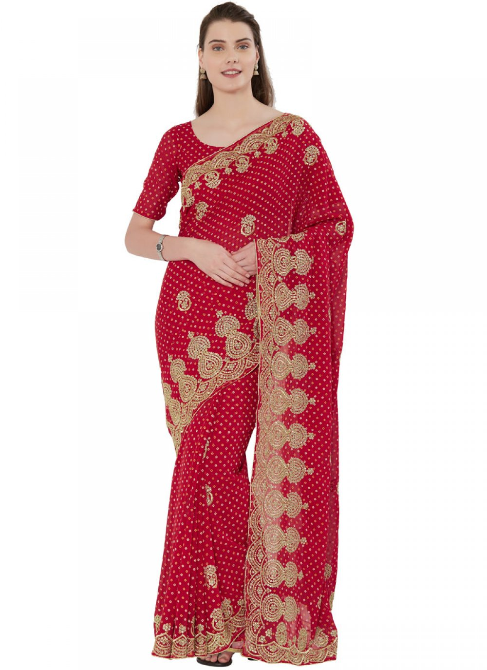 Faux Georgette Embroidered Red Designer Saree