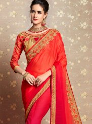 Faux Georgette Embroidered Shaded Saree in Orange