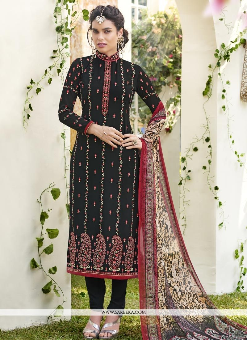 Faux Georgette Embroidered Work Churidar Designer Suit