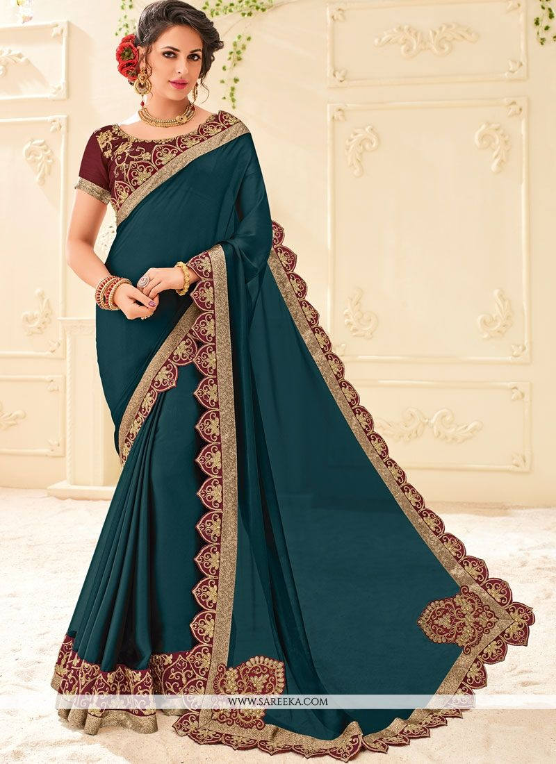 Faux Georgette Embroidered Work Classic Saree