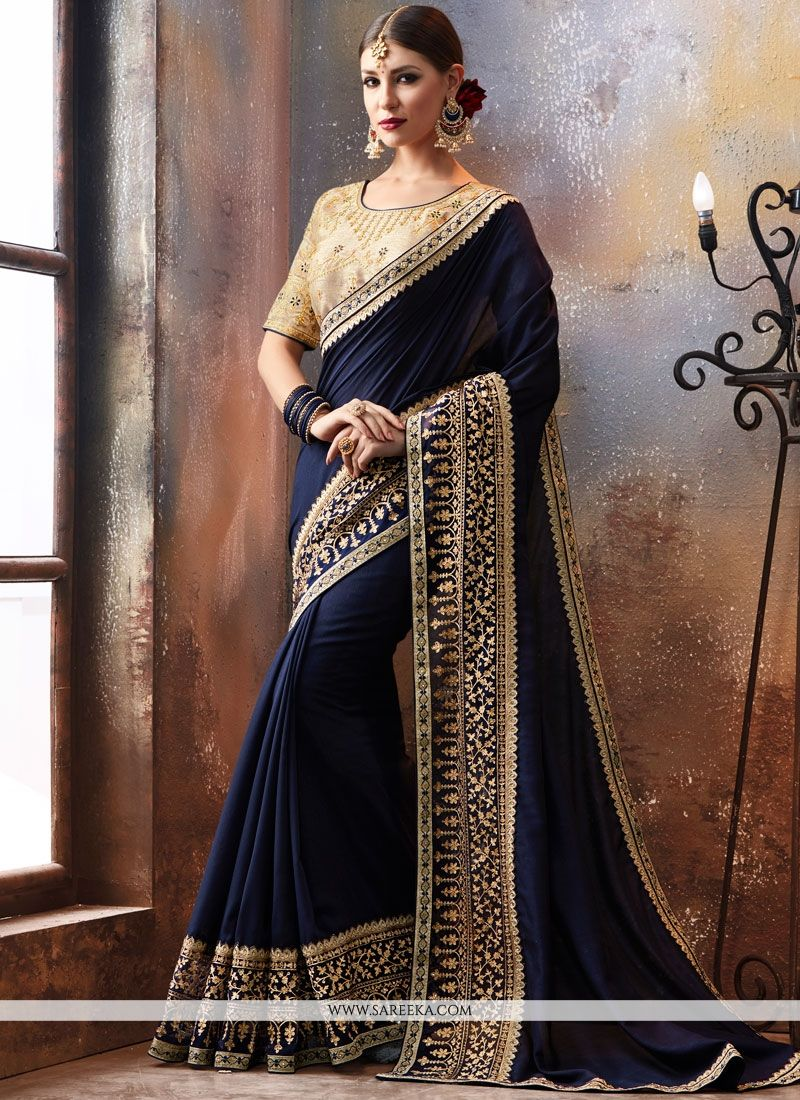 Faux Georgette Embroidered Work Designer Saree