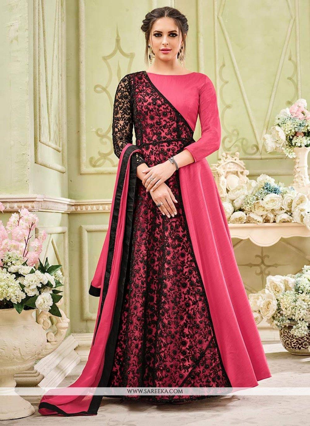 Faux Georgette Embroidered Work Floor Length Anarkali Suit