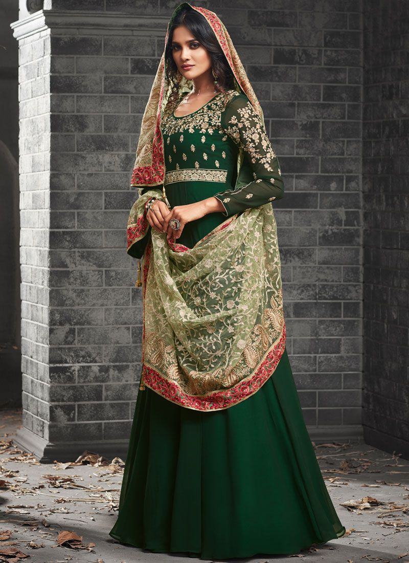 Faux Georgette Embroidered Work Floor Length Anarkali Suit