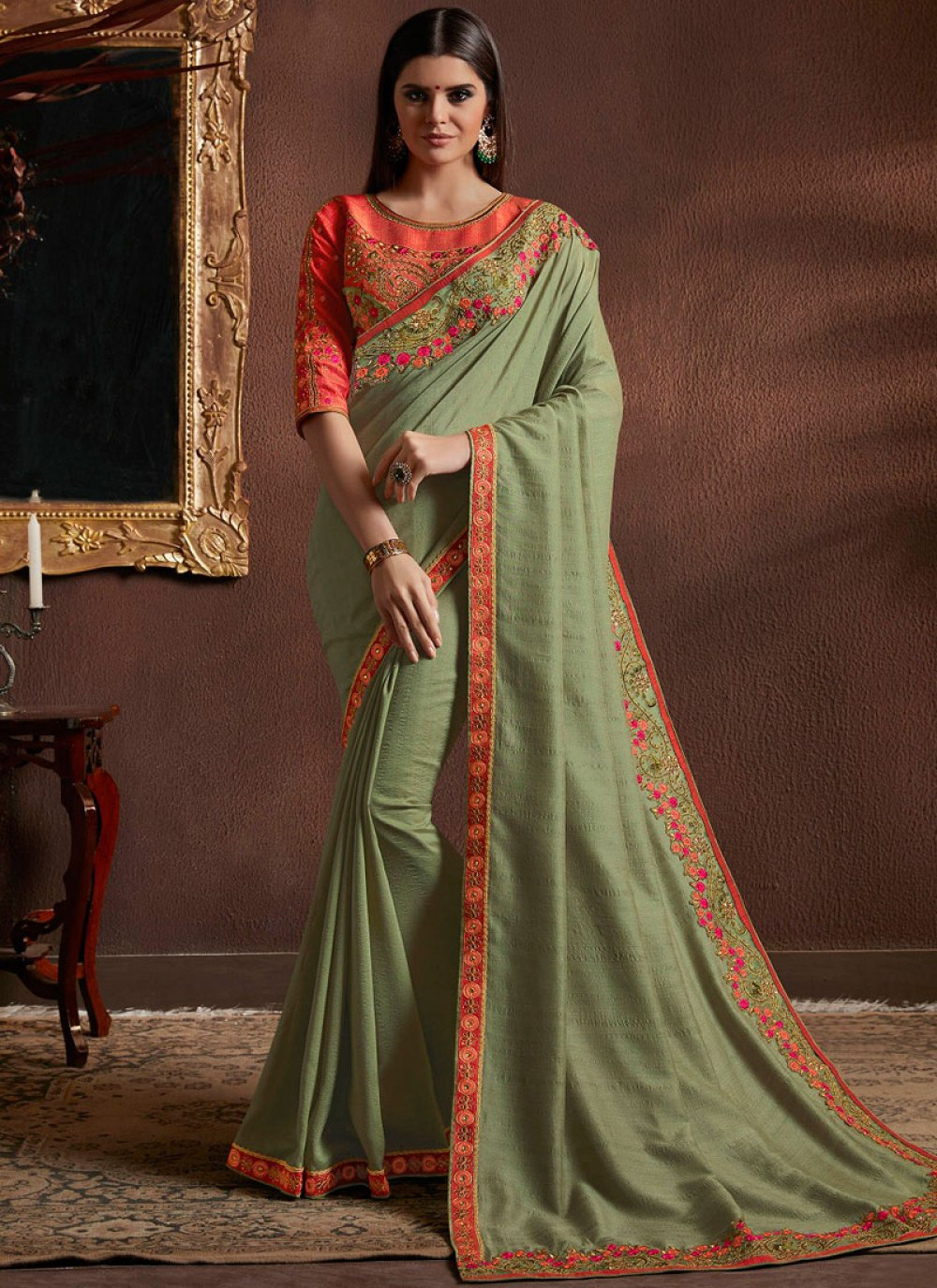 Faux Georgette Green Resham Classic Designer Saree