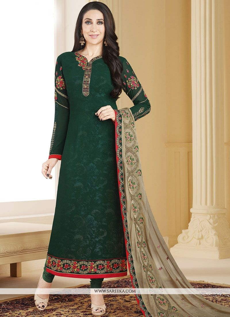 Faux Georgette Green Resham Work Designer Straight Suit