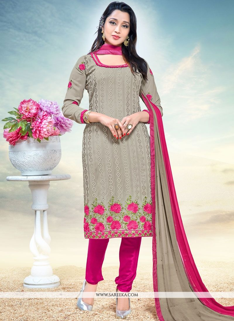 Faux Georgette Grey Embroidered Work Churidar Designer Suit