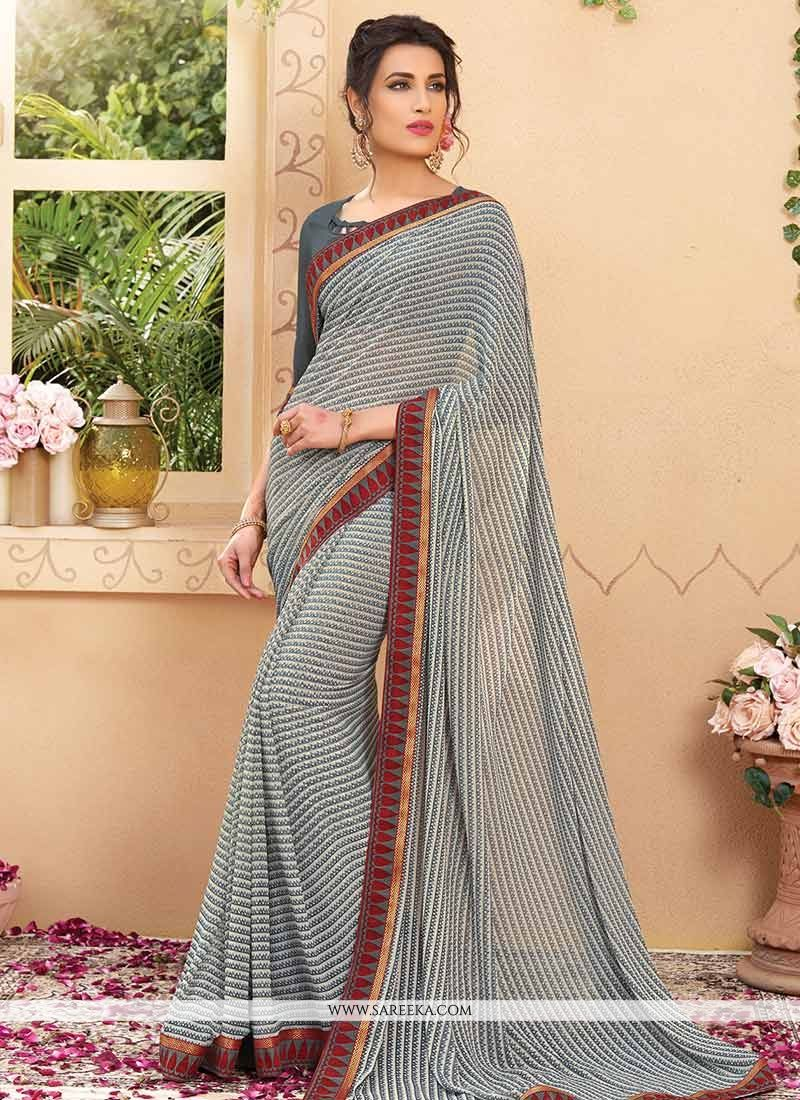 Faux Georgette Grey Print Work Printed Saree