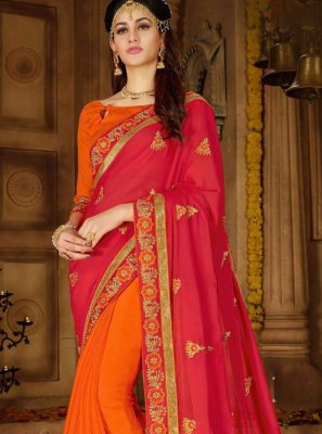 Faux Georgette Hot Pink and Orange Embroidered Designer Half N Half Saree