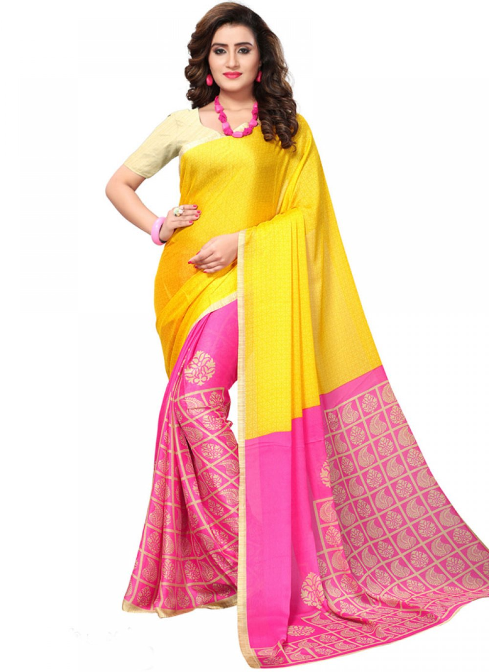 Faux Georgette Hot Pink and Yellow Print Work Casual Saree