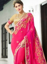 Faux Georgette Hot Pink Classic Designer Saree