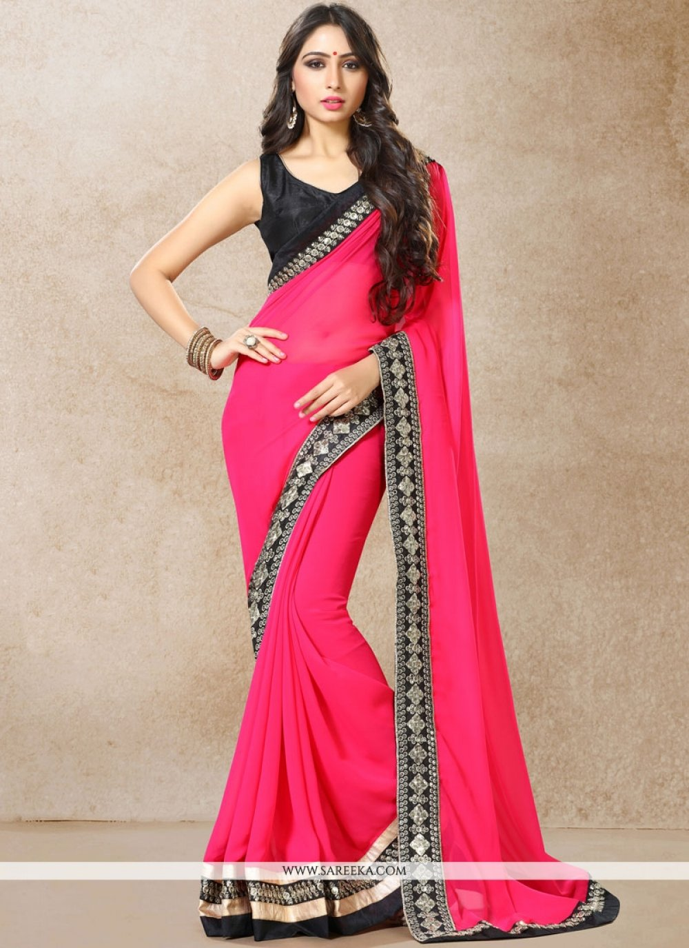 Faux Georgette Hot Pink Embroidered Work Classic Designer Saree