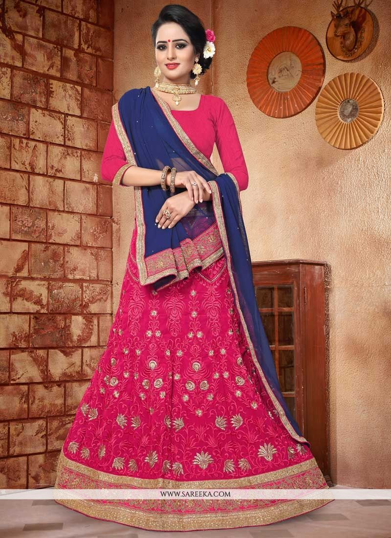 Faux Georgette Hot Pink Lehenga Choli