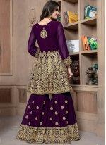 Faux Georgette Lace Designer Palazzo Suit in Purple