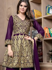 Faux Georgette Lace Designer Palazzo Suit in Purple