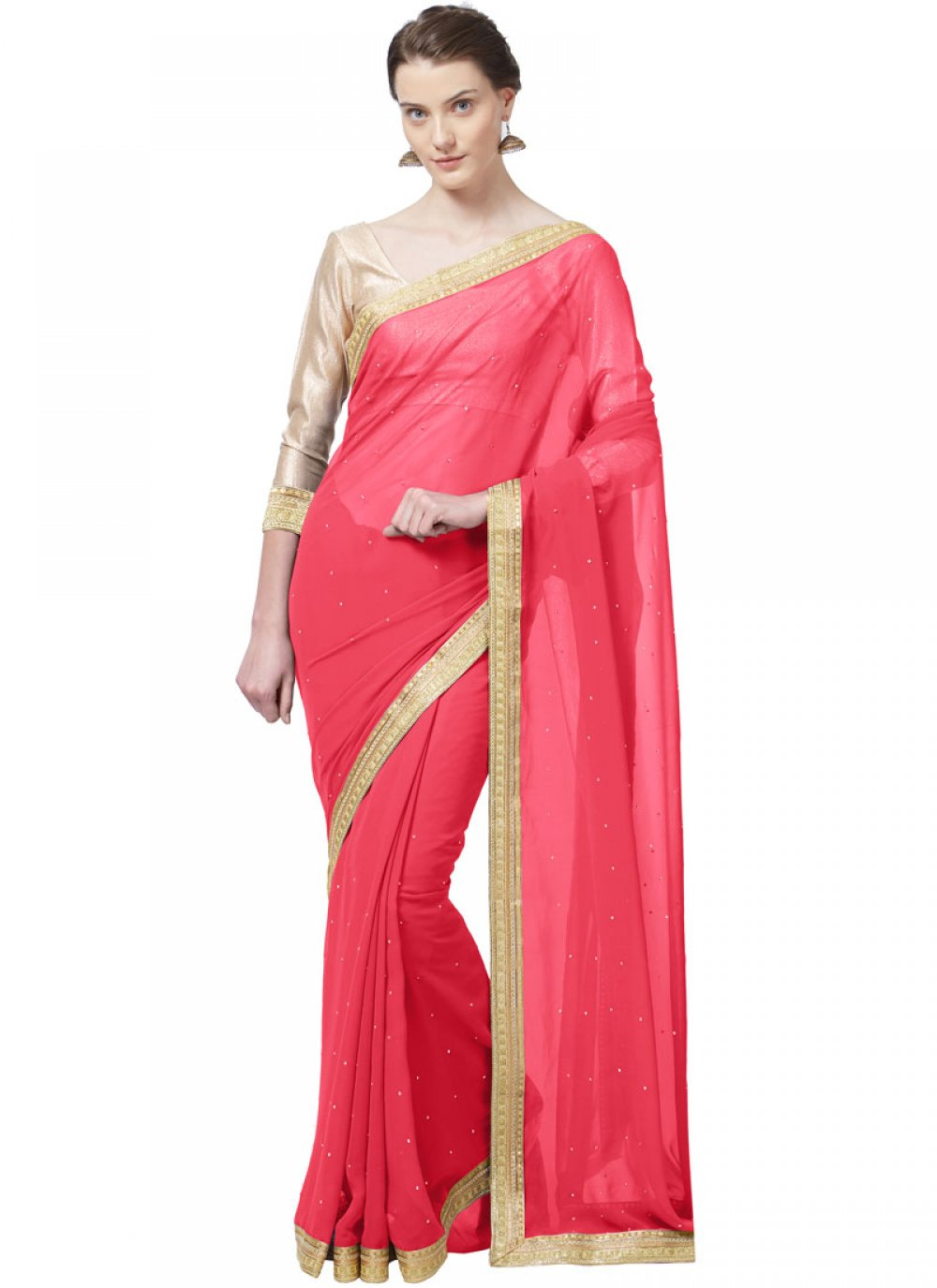 Faux Georgette Lace Pink Casual Saree