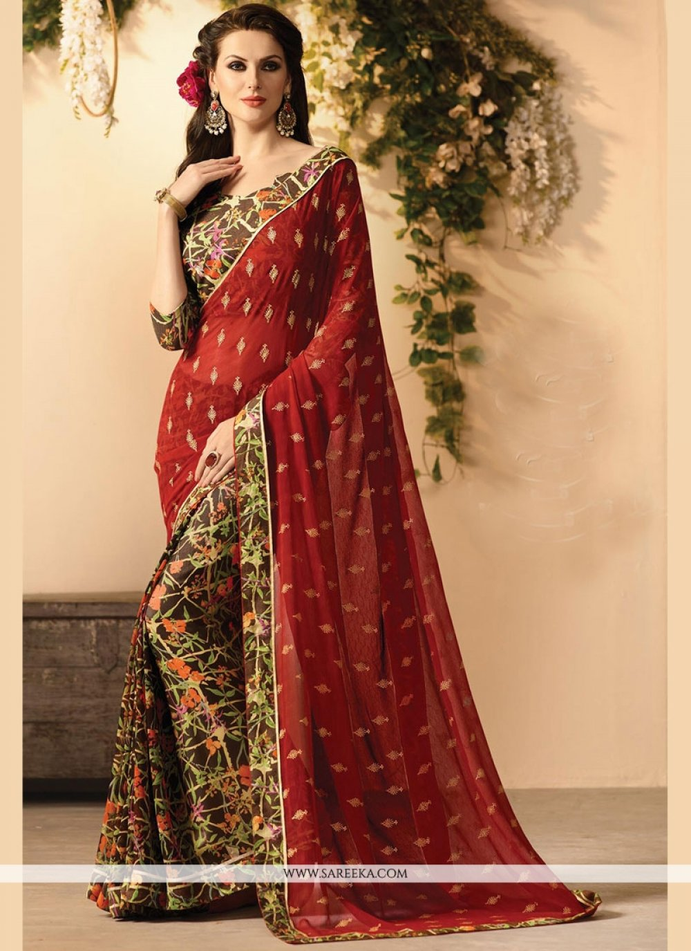 Faux Georgette Lace Work Casual Saree