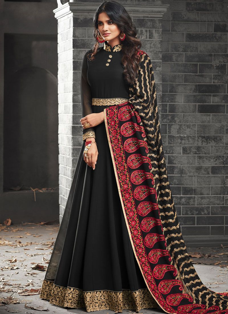 Faux Georgette Lace Work Floor Length Anarkali Suit