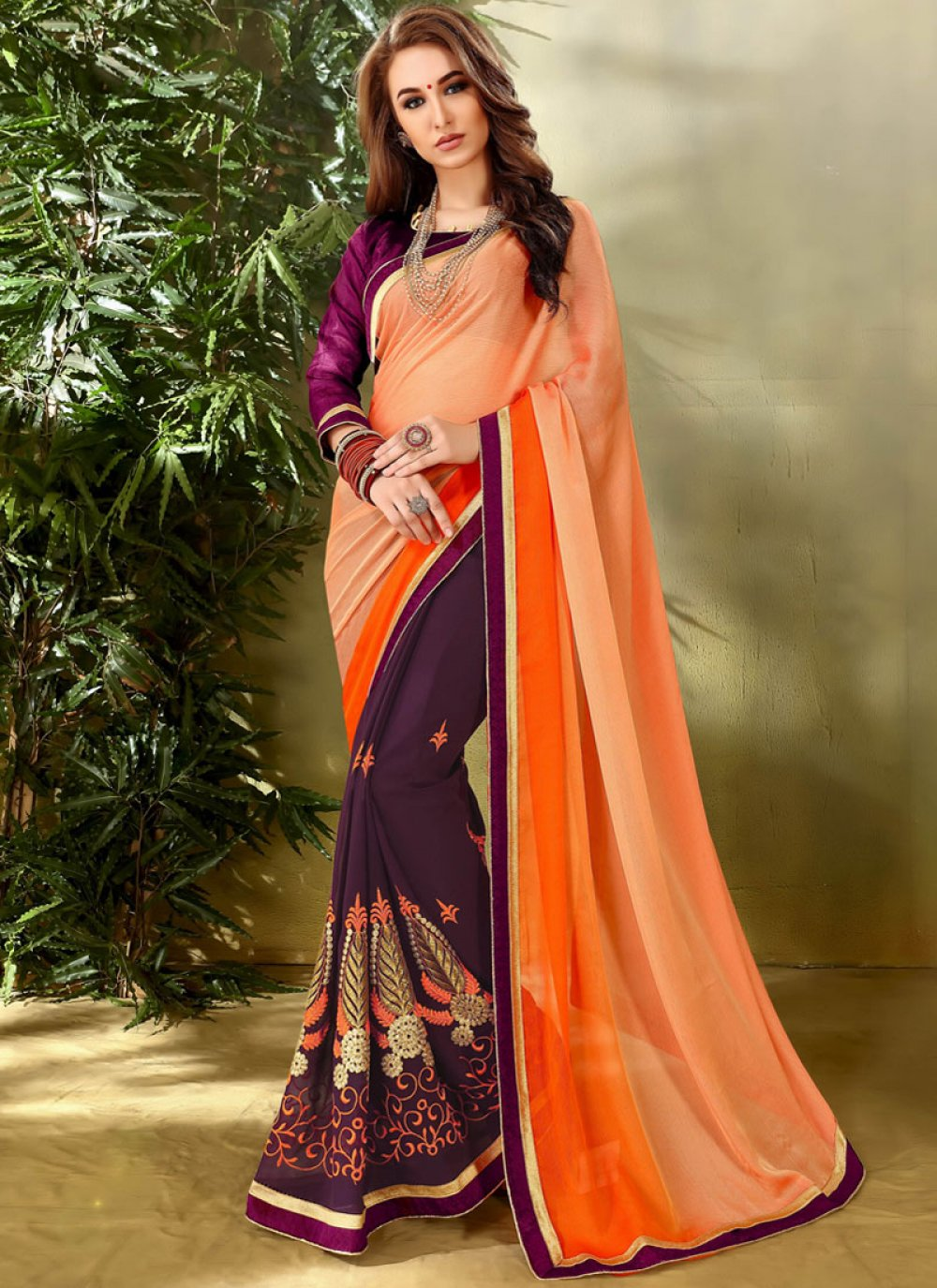 Faux Georgette Lace Work Half N Half Designer Saree