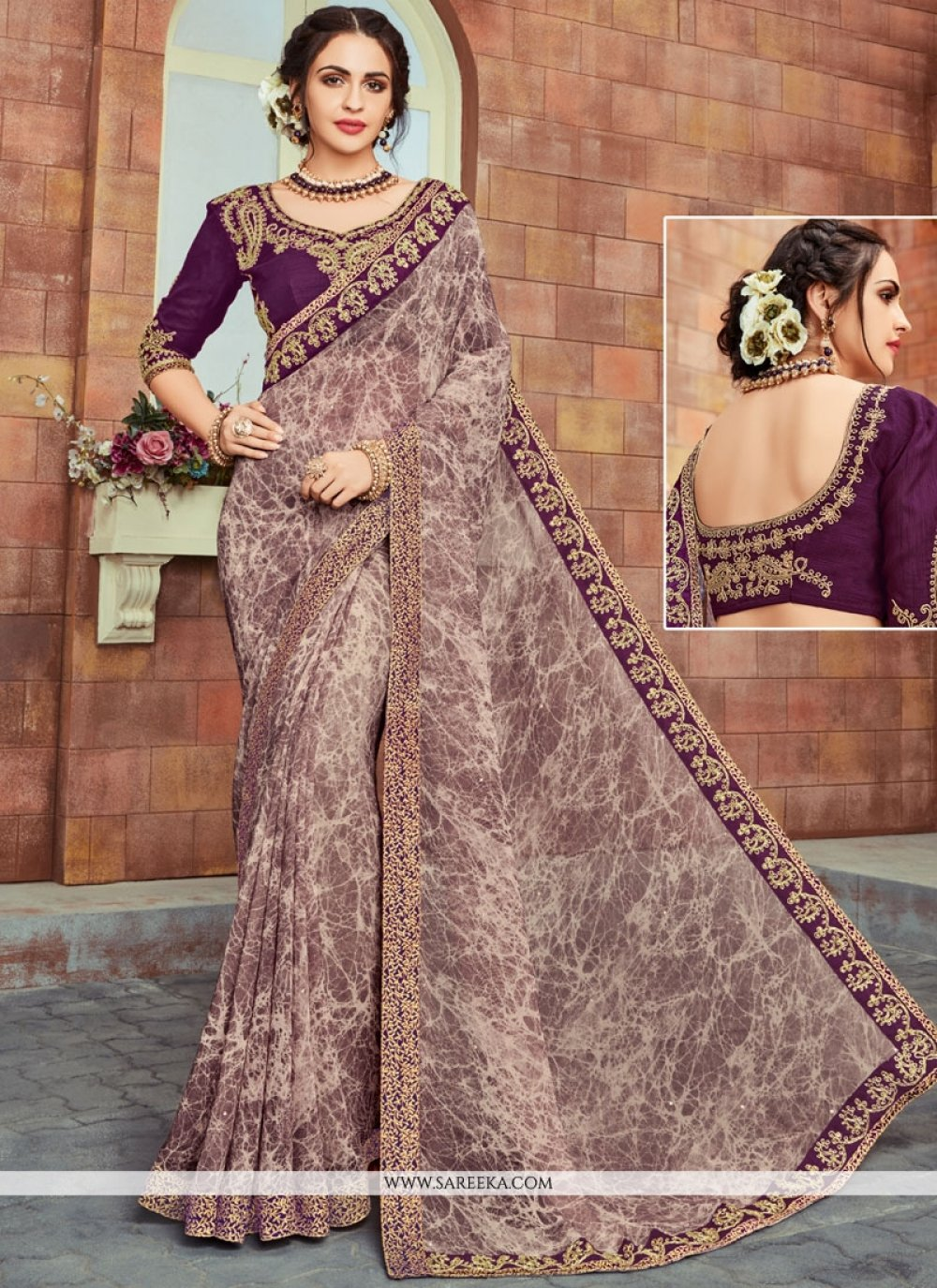 Faux Georgette Lace Work Printed Saree