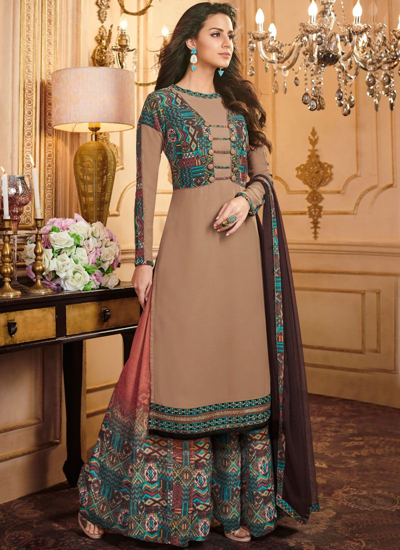 Faux Georgette Multi Colour Print Designer Palazzo Suit