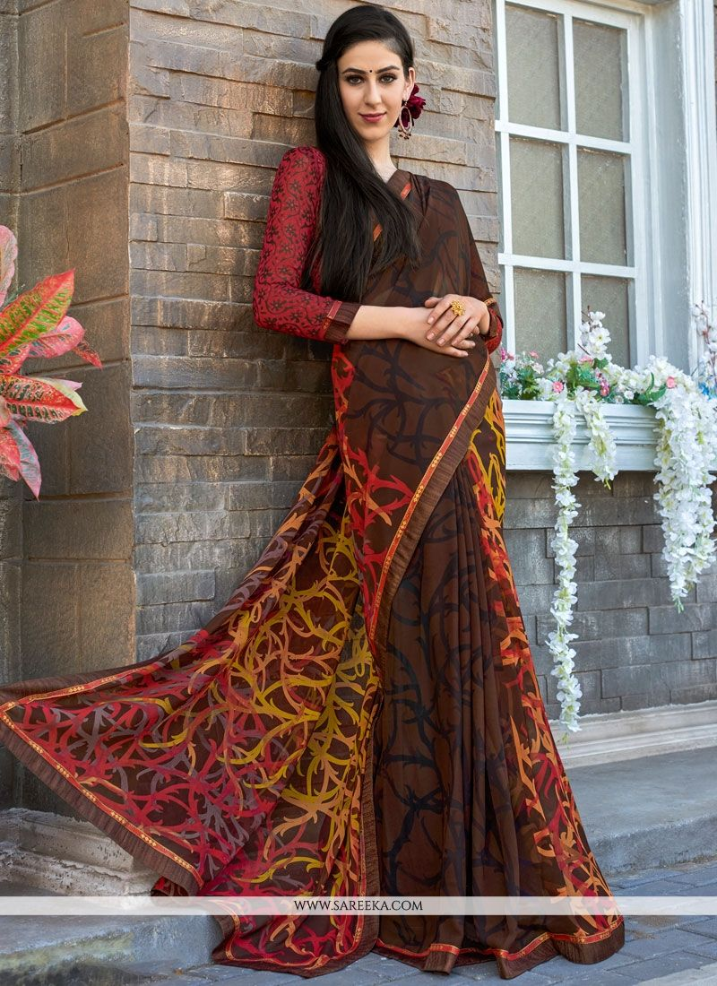 Faux Georgette Multi Colour Print Work Printed Saree